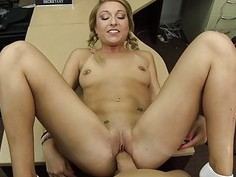 Hot blonde pawns her pussy for her puppy