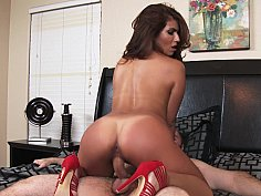 Tight pussy babe rides cock with her stilettos on