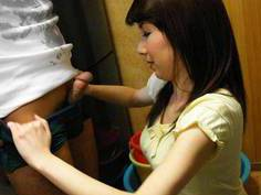 Japanese wife catering to her husband needs