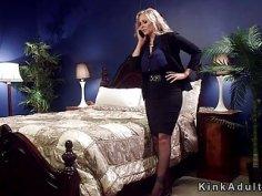 Milf mistress anal fucks tied up blonde