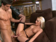 Voracious blonde Vanessa Cage fucks and gets cumshot on her thighs