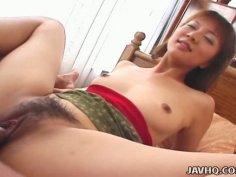 Joyful cutie Eri Yamaguchi fucks missionary style and rides small prick