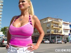 Hot titty beach show with horny Sharon Pink!