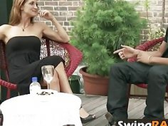 Swinger couples enjoying in each other company in swinger mansion