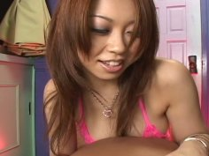 The guy with small dick gets blowjob and rimjob from Nozomi Uehara