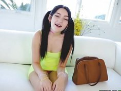 Karly Baker brushes her braced teeth with sperm