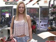 Nerdy blonde woman gets fucked hard in the shop
