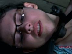 Submissive pale skin hoe Kristine Andrews gets rubbed with harsh brush