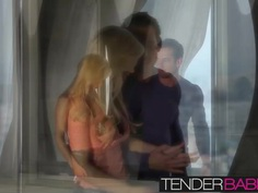 Big titted blonde beauty Tasha Reign getting cum on her ass