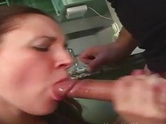 Pig Tailed Brunette Gets Kitchen Banged