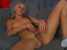 Cheerful blond babe Carley gets her beaver brushed by aroused fucker
