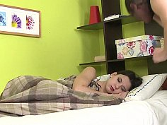 Sleeping girl fucked hardcore by a masked burglar
