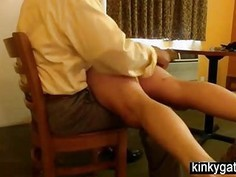 Punishing my sub with the brush