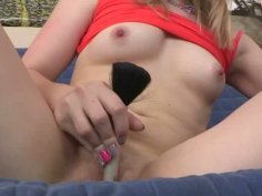 Blonde teen gets horny and masturbates using the brush
