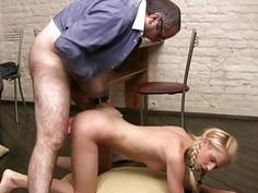 Girl is delighting old tutors hard male wang