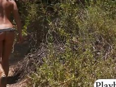 Two super sexy cougars went on nudist trail for tanning