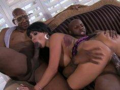 Busty brunette Sienna West pleases two stiff black dicks