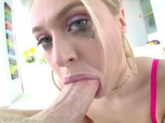 Natalia Starr gives nice titjob and slobbery blowjob