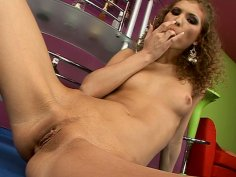 Curly haired princess Juliette Shyn fingers her sweet wet pussy