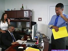 Mocha skin naughty college girl sex at the office