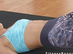 Fitness trainer banging blonde hottie