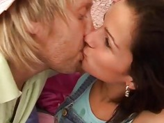 Blue haired girl blowjob Monica gets a ample facial