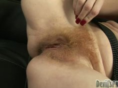 Mature guy brushes pubic hair of ginger slut Sasha Brand
