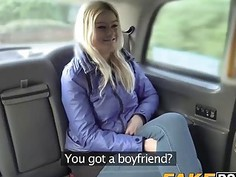 Horny Blonde slut gets a backseat discount and a hard cock