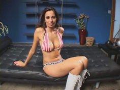 Flexible busty wanker Tiffany Taylor wins a cock for a splendid mish