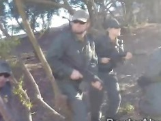 Sexy blonde officer and hunk partner team up to fuck hottie