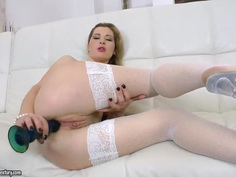 Horny blonde Suzanna Scott gets her ass and mouth fucked