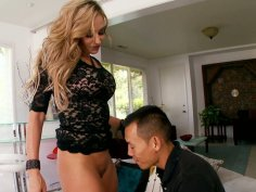 Impressively hot and sexy Claudia Valentine sucks a fat cock with delight