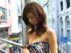 Petite Asian girlie Aki Hoshino brushes her teeth and takes shower