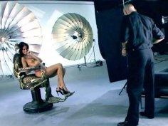 Photographer fingers gorgeous Jennifer Dark during photoshoot