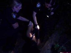 Big cocked black thug fucking two female cops in uniform