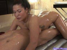 Seductive asian whore London Keys gives a hot nuru massage and sucks the cock passionately